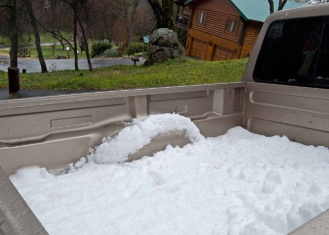 snow in pickup